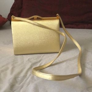 Handbags - Vintage Gold Purse with long strap.